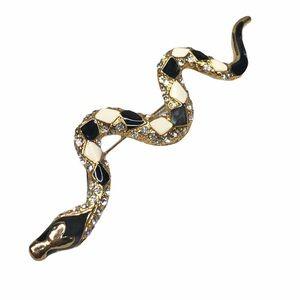 Vintage Snake Enamel Rhinestone Gold Diamond Pin